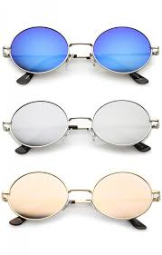 colored mirror flat lens oval sunglasses 50mm zoom