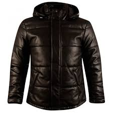 armani jeans black leather puffer jacket