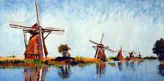 holland painting windmills by paul de haan