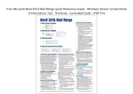 Free Microsoft Word 2016 Mail Merge Quick Reference Guide Windows V