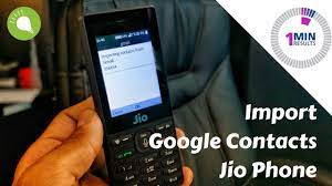 import google contacts into jio phone