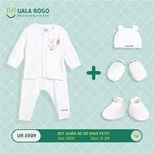 UR2209.2 - Set quần áo sơ sinh vải petit Uala Rogo - Màu trắng họa tiết thỏ  hồng | Quần Áo Trẻ Em Uala & Rogo