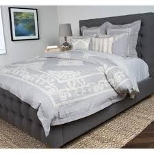 null patrina fog gray embroidery cotton king duvet cover
