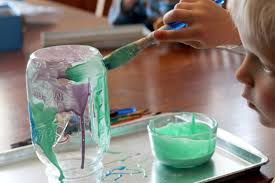 paint the mason jars with colored glue inside or out