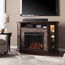 boston loft furnishings 52 25 in w espresso faux durango stone led electric fireplace no reviews
