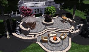 concrete patio designs with fire pit. Tiered 3d Brick Patio With Landscape Design In Bloomfield Hills, MI Concrete Designs Fire Pit