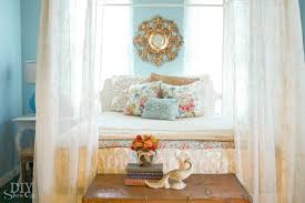blue orange and gold guest room bed at diyshowoff com