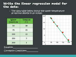11 write the linear regression model for the data the data table below shows the water temperature at various depths in an ocean water depth x 5018 7515