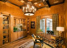 home office with wooden chandelier design