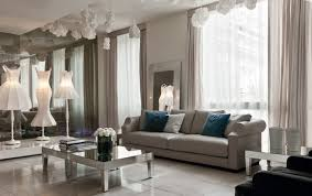 living room with mirrored furniture. Beautiful Beige Living Room With Grey Sofa And Mirrored Tables Contemporary- Living-room Furniture T