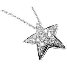 chanel comete large diamond gold star pendant necklace for