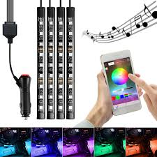 App Controlled Interior Car Lights Ambother 4pcs Led Rgb Car Interior Floor Decoration Lights Bars Wireless Bluetooth App Control Atmosphere Lamp Strip With Car Lighter