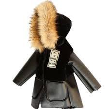 2019 winter childrens faux fur coat patchwork fur pu leather jacket baby boys girls warm fur