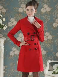 women trench coat red wrap coat long sleeve peacoat women wrap jacket no 4