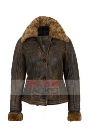 womens er distressed shearling leather jacket