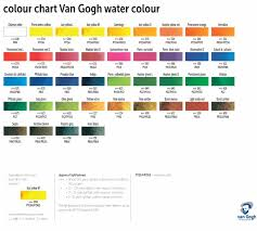Par Paint Colour Chart Van Gogh Watercolour Paint Colour Chart In 2019 Van Gogh