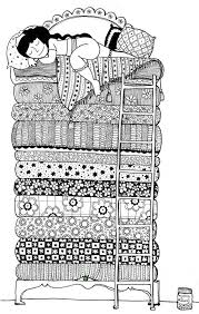 princess and the pea coloring page. milena jarjour. ternura en blanco y negro. doodle artthe princesscoloring pagesadult princess and the pea coloring page