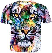 FSSE Men Short Sleeve <b>Round</b> Neck Slim Fit Summer Casual <b>Tiger</b> ...