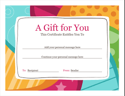 Make Your Own Gift Certificate Free Printable Birthday Gift Certificate Bright Design