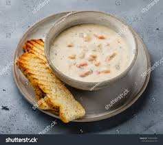 Boston Chowder Soup Seafood On Concrete ...