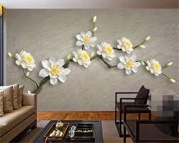 Beibehang Aangepaste Grote Behang 3d Wit Stereo Bloem Muur