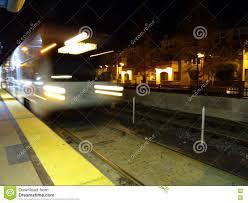 Vta Light Rail Timetable Blur Of Vta Transit Lightrail Train Arrives Into Station At