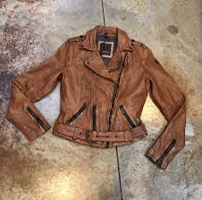 image of the cognac brown lambskin leather jacket by mauritius