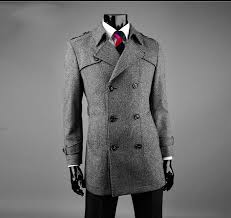 free drop ship 2016 new men s belted casual double ted woolen winter coat jacket slim fit