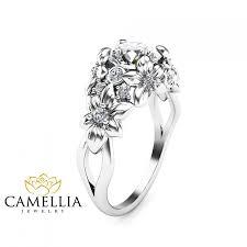 Flower Design Diamond Ring Floral Design Diamond Engagement Ring 14k White Gold Flower