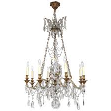 19th century french doré bronze and crystal chandelier for