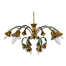 12 arm chandelier with green leaves italien circa 1960s for