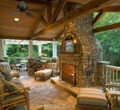 outdoor stone fireplace. Outdoor Room With Stone Fireplace T