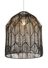 Large Black Rattan Pendant Light Tung Rattan Woven Easy Fit Shade H50cm X W40cm Black