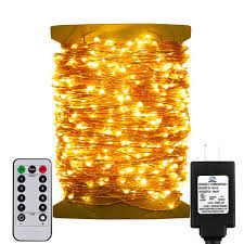 Golden Power Lights Erchen Remote Control Adapter Powered Led String Lights 333ft 1000 Leds Dimmable Copper Wire Decorative Fairy Lights With 8 Modes And Timer For