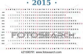 Horizontal Calendar Horizontal Calendar For Year 2015 Clipart K21590791