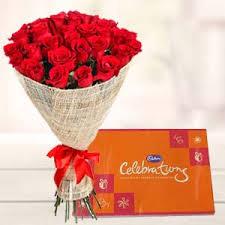 red roses bouquet with cadbury celebrations gift kolkata india