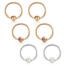 Vcmart 6pcs Daith Earrings Conch Earrings Captive Bead Rings