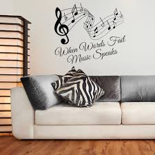 When Words Fail Music Speaks Quote And Music Notes Vinyl Wall Art