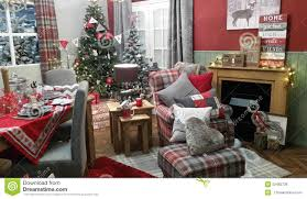 Of Living Rooms Decorated For Christmas Christmas Cosy Winter Living Room Decoration Setting Stock Photo