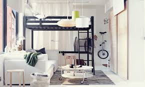 Small Bedroom Sofa Small Space Attic Bedroom With Black Loft Bed And White Bedroom