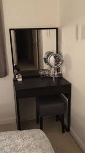 Makeup vanity: IKEA Micke desk with Stave mirror and Nils stool. Also used  Godmorgan 3 set trays for internal organisation