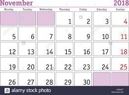 Simple Digital Calendar For November 2018 Vector Printable Calendar