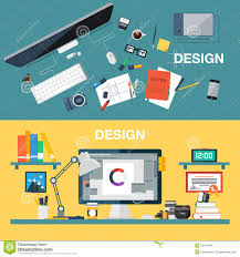 designer office desk isolated objects top view. background creative design designer desk digital equipment flat office top vector view isolated objects e