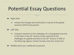 ap review session creating the global economy mr millhouse ap  potential essay questions  right side  analyze the changes and continuities in nature of the