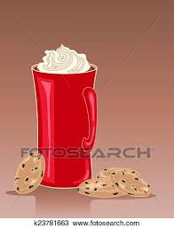 hot chocolate with whipped cream clip art. Fine Art An Illustration Of A Tall Red Mug Hot Chocolate Drink With Whipped Cream  And Some Chip Cookies On Brown Background With Hot Chocolate Whipped Cream Clip Art