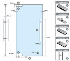 510x450 swing glass door mechanism floor spring upper