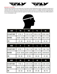 Evs Helmet Size Chart Fly Racing Sizing Charts