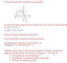 b write an equation for the quadratic