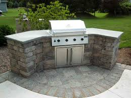 curved stone prefab kitchen island with gray concrete countertop and for prefab outdoor grill island