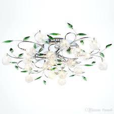 green chandelier led ceiling light modern green leaves light crystal ball ceiling light aluminium